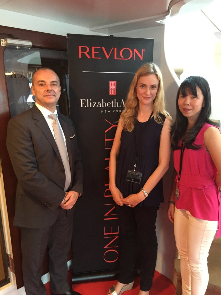 Revlon svp international David Carvalho and Elizabeth Arden brand president, global JuE Wong
